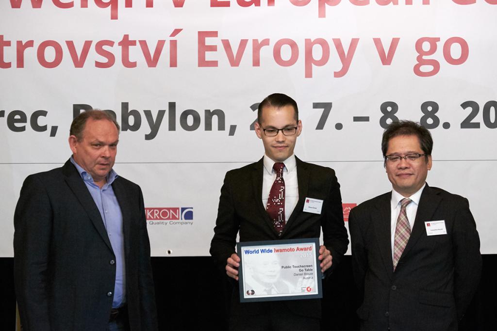 Harry van der Krogt (L, EGCC), Daniel Bôsze (M, Winner) and Mr. Yamashiro Hiroshi 9p (R, Nihon Ki-in)